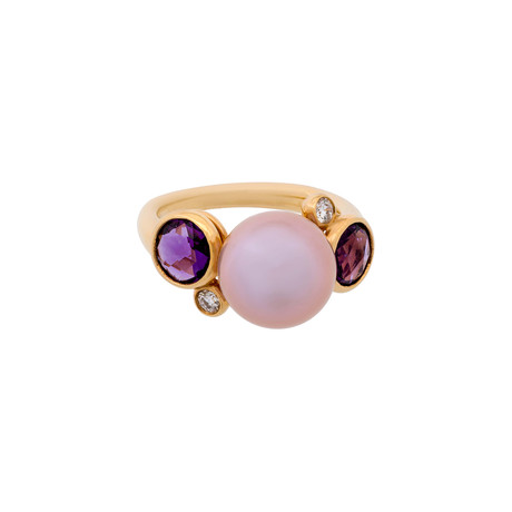 Mimi Milano 18k Rose Gold Multi-Stone Ring // Ring Size: 5.75