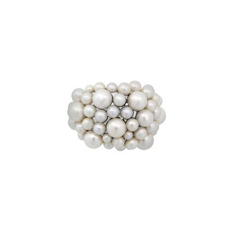Mimi Milano 18k White Gold White Cultured Freshwater Pearl Ring // Ring Size: 6.5