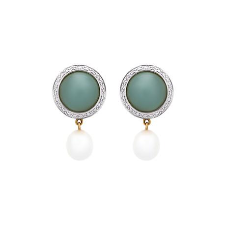 Mimi Milano 18k Two-Tone Gold Aquamarine Diamond + White Freshwater Pearl Earrings