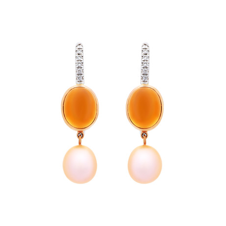 Mimi Milano 18k Two-Tone Gold Citrine Diamond + Pink Cultured Freshwater Pearl Earrings