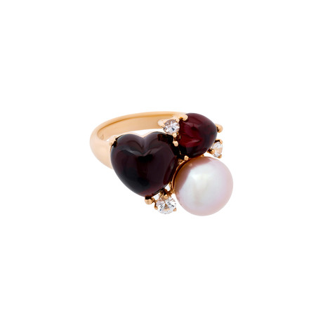 Mimi Milano 18k Rose Gold Garnet Sapphire + Violet Cultured Freshwater Pearl Ring // Ring Size: 7