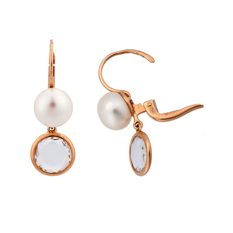 Mimi Milano 18k Rose Gold Rock Crystal + White Cultured Freshwater Pearl Earrings