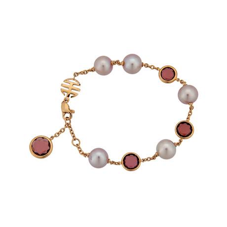 Mimi Milano 18k Rose Gold Garnet + Violet Cultured Pearl Bracelet
