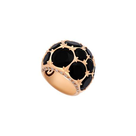 Mimi Milano 18k Rose Gold Black Agate + Diamond Ring // Ring Size: 6.5
