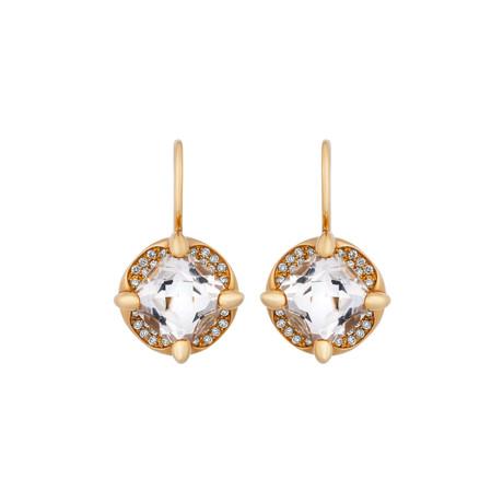 Mimi Milano 18k Two-Tone Gold Diamond + Rock Crystal Earrings