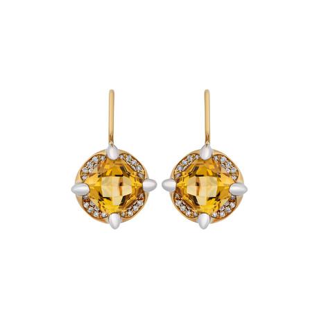 Mimi Milano 18k Two-Tone Gold Diamond + Citrine Earrings