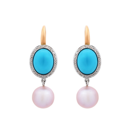 Mimi Milano 18k Two-Tone Gold Multi-Stone Earrings