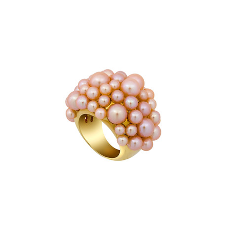 Mimi Milano 18k Yellow Gold Pink Cultured Freshwater Pearl Ring // Ring Size: 6.75