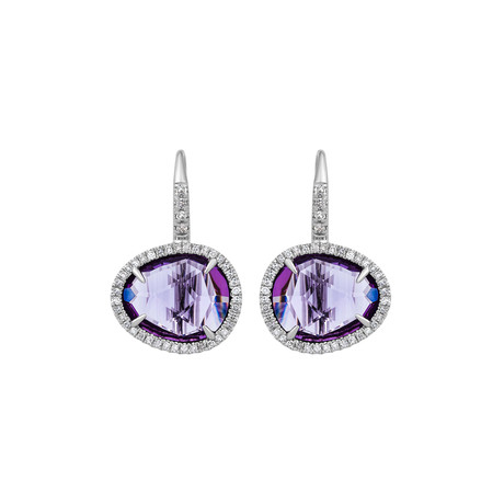 Mimi Milano 18k White Gold Diamond + Amethyst Earrings