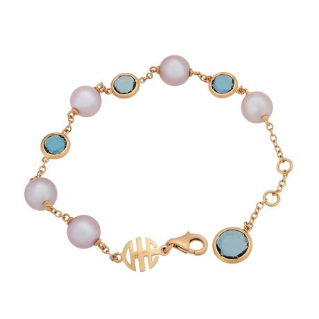 Mimi Milano 18k Rose Gold London Blue Topaz + Violet Cultured Freshwater Pearl Bracelet