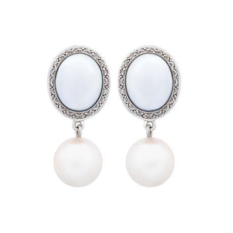 Mimi Milano 18k White Gold Multi-Stone Earrings