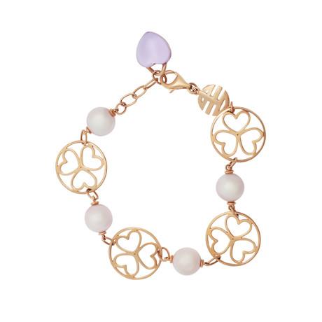 Mimi Milano 18k Rose Gold Amethyst + Violet Cultured Freshwater Pearl Bracelet