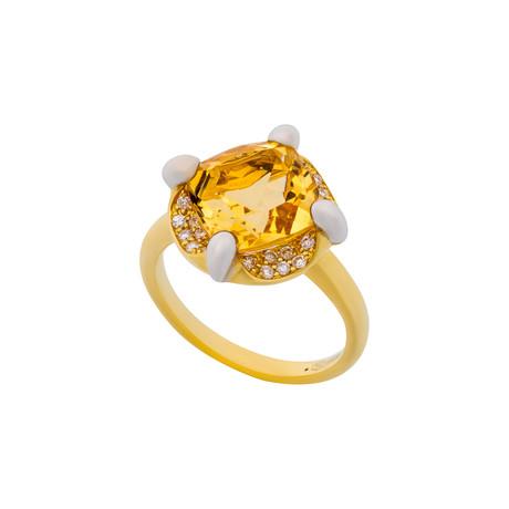 Mimi Milano 18k Two-Tone Gold Diamond + Citrine Ring // Ring Size: 6.5