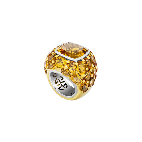 Mimi Milano 18k Yellow Gold Citrine Ring // Ring Size: 8.25