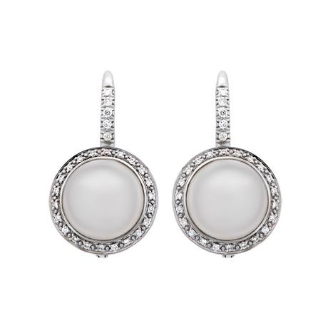 Mimi Milano 18k White Gold Milky Quartz + Diamond Earrings