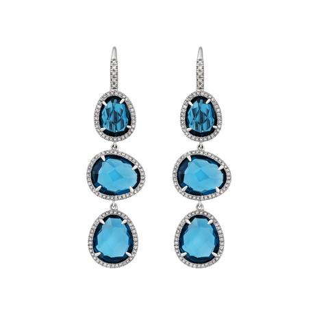 Mimi Milano 18k White Gold Diamond + London Blue Topaz Earrings II
