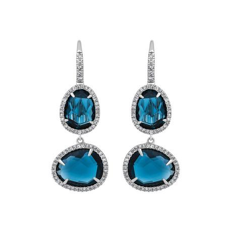 Mimi Milano 18k White Gold Diamond + London Blue Topaz Earrings I