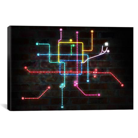 "Neon Transit Map // Unknown Artist (18""W x 12""H x 0.75""D)"