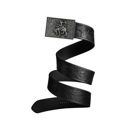 Western Cowboy Mission Belt // Iron Buckle + Black Leather (Small)