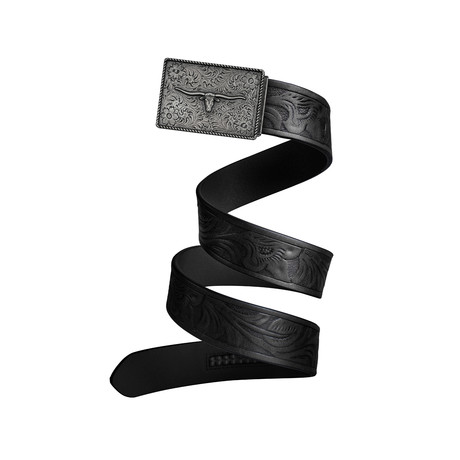 Western Bull Mission Belt // Iron Buckle + Black Leather (Small)
