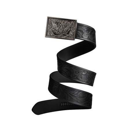 Western Eagle Mission Belt // Gunmetal Buckle + Black Leather (Small)