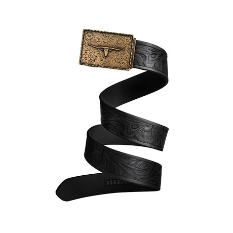 Western Bull Mission Belt // Bronze Buckle + Black Leather (Small)