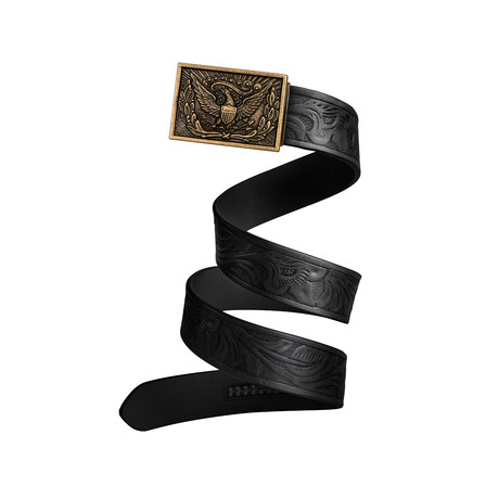 Western Eagle Mission Belt // Bronze Buckle + Black Leather (Small)