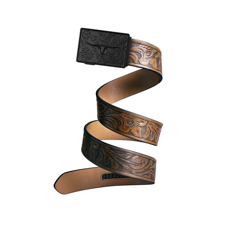 Western Bull Mission Belt // Swat Buckle + Light Brown Leather (Small)