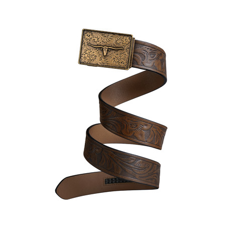 Western Bull Mission Belt // Bronze Buckle + Mocha Brown Leather (Small)