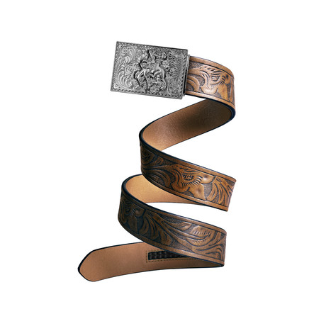 Western Cowboy Mission Belt // Silver Buckle + Light Brown Leather (Small)