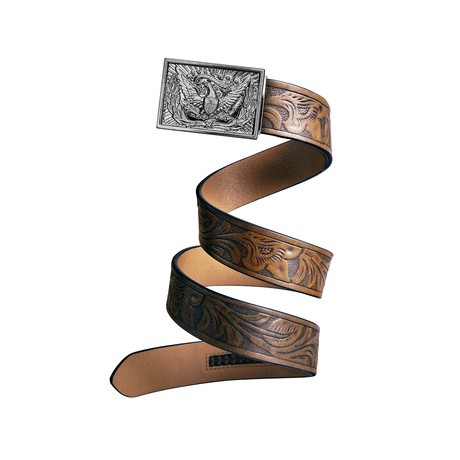 Western Eagle Mission Belt // Silver Buckle + Light Brown Leather (Small)