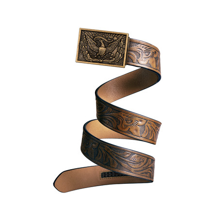 Western Eagle Mission Belt // Bronze Buckle + Light Brown Leather (Small)