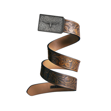 Western Bull Mission Belt // Iron Buckle + Light Brown Leather (Small)