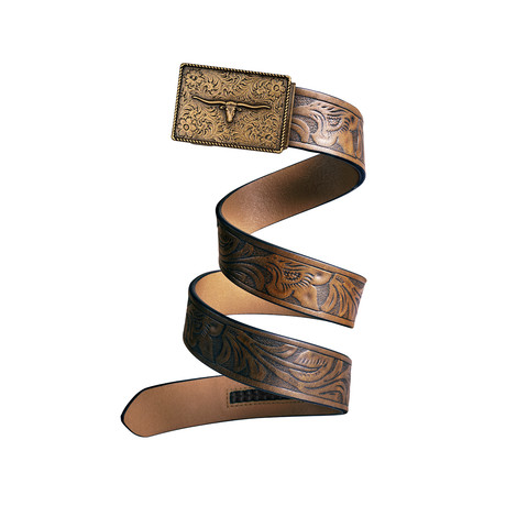 Western Bull Mission Belt // Bronze Buckle + Light Brown Leather (Small)