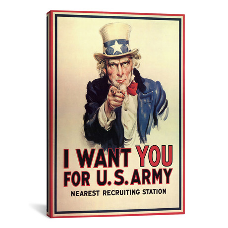 "Uncle Sam: I Want You! Vintage Poster, J. M. Flagg // j. M. Flagg (12""W x 18""H x 0.75""D)"