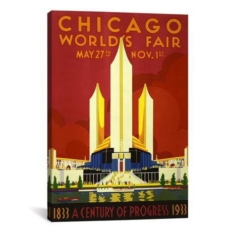 """Chicago World's Fair 1933 Vintage Poster // Unknown Artist (26""""W x 40""""H x 1.5""""D)"""