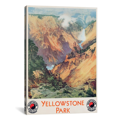 "Yellowstone Park, 1934 // Thomas Moran (12""W x 18""H x 0.75""D)"