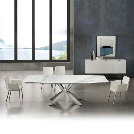 EMILIA // Motorized Dining Table (White Marble)