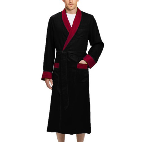 Long Heavyweight Satin Robe // Black + Red (S)