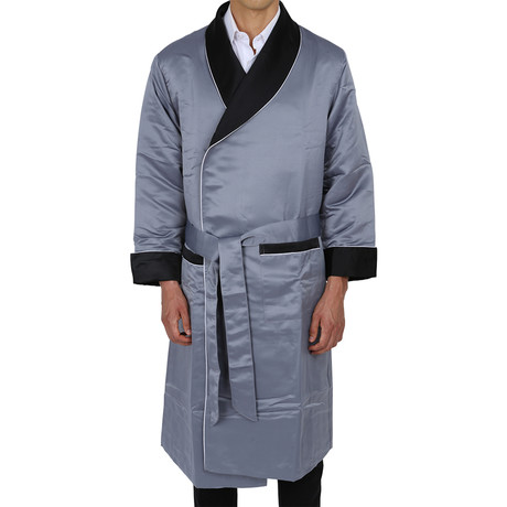 Long Heavyweight Satin Robe // Silver + Black (S)