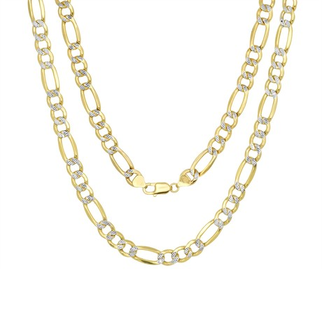 "Solid 10K Yellow Gold Figaro Pave Chain Necklace // 8.0mm (20"")"