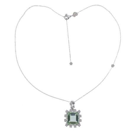 Pasquale Bruni 18k White Gold Prasiolite Diamond Pendant Necklace