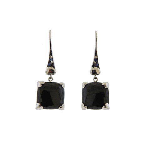 Pasquale Bruni 18k White Gold Eiffel Diamond + Sapphire Drop Earrings