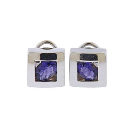 Pasquale Bruni 18k White Gold Bruni Iolite Square Earrings