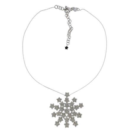 Pasquale Bruni 18k White Gold Snow Flake Diamond Pendant Necklace