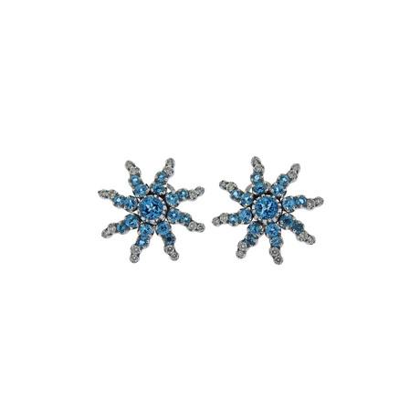 Pasquale Bruni 18k White Gold Sun Diamond + Aquamarine Earrings