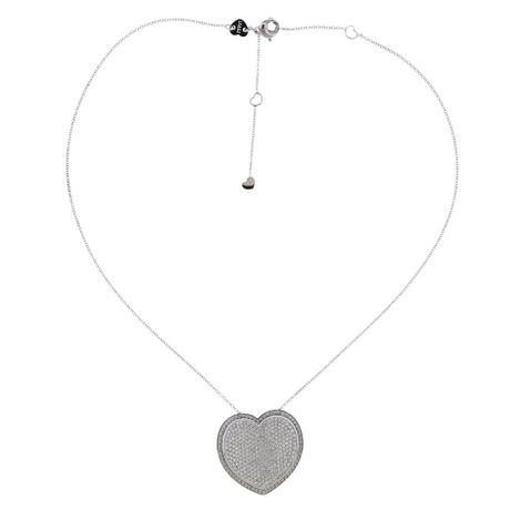 Pasquale Bruni 18k White Gold Liberty Diamond Heart Pendant Necklace