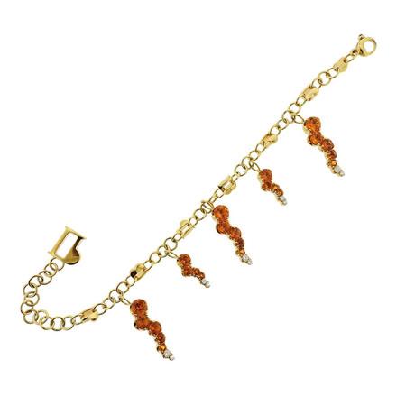 Pasquale Bruni 18k White Gold Sun Ray Diamond Madeira Citrine Charm Bracelet