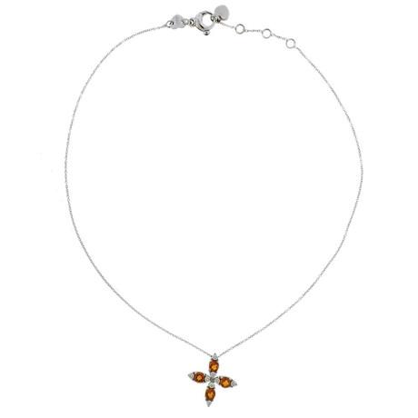 Pasquale Bruni 18k White Gold Bruni Diamond Madeira Citrine Pendant Necklace