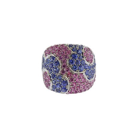Pasquale Bruni 18k White Gold Sapphire Flower Petals Band Ring // Ring Size: 6.5